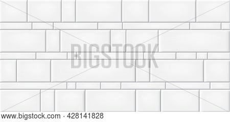 White Ceramic Tiles Wall Texture Abstract Background Vector Illustration