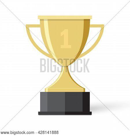 Golden Trophy Cup Vector Illustration Flat Design