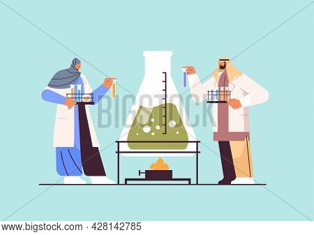 Arab Research Scientist Working With Test Tube Arabic Researchers Making Chemical Experiment In Labo