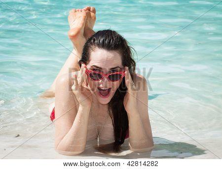 Surprised Happy Woman On Beach