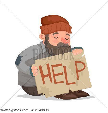 Homeless Bum Help Cardboard Paper Sheet Cartoon Helpless Character Vector Illustration