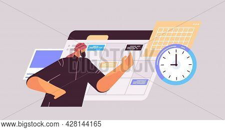 Businessman Planning Day Scheduling Appointment In Online Calendar App Agenda Meeting Plan Time Mana