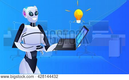 Robot Cyborg Using Laptop Modern Robotic Character With Bright Bulb New Project Creative Idea Artifi