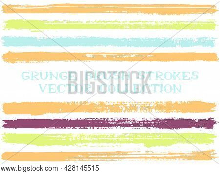 Long Ink Brush Strokes Isolated Design Elements. Set Of Paint Lines. Retro Stripes, Textured Paintbr