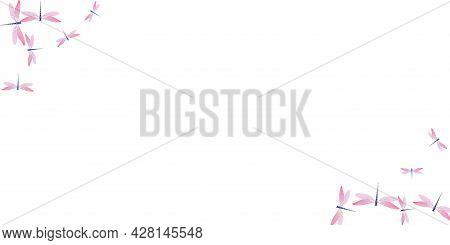 Fairy Rosy Pink Dragonfly Cartoon Vector Background. Summer Funny Damselflies. Wild Dragonfly Cartoo