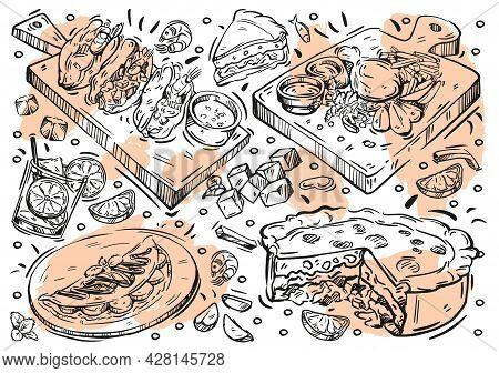 Hand Drawn Line Vector Illustration Food. Doodle Brazilian Cuisine: Barbecued Meat, Vinagrette Salsa