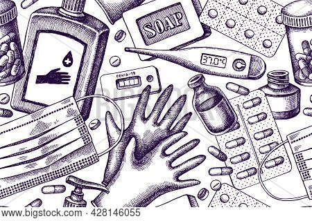 Artistic Seamless Pattern With Pills And Medicines, Medical Face Mask, Sanitizer Bottles, Medical Th