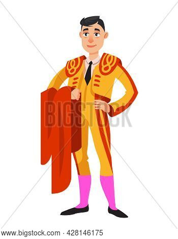 Bullfighter Standing With Red Cloth. Male Person In Cartoon Style.