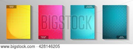 Minimal Circle Faded Screen Tone Front Page Templates Vector Series. Business Journal Perforated