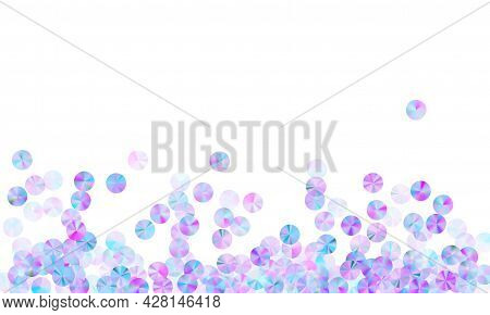 Purple Tinsels Confetti Placer Vector Background. Glamour Glowing Paillette Particles Party Decorati