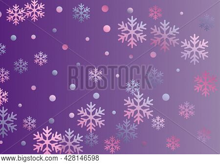 Crystal Snowflake And Circle Elements Vector Illustration. Unusual Winter Snow Confetti Scatter Flye