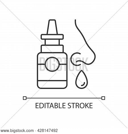 Nasal Spray Linear Icon. Relieve Nasal Discomfort. Cold Relief. Treat Sinus Congestion. Thin Line Cu