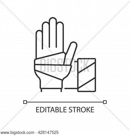 Medical Bandage Linear Icon. Bandaged Hand. Sterile Wound Dressing. Medical Gauze. Thin Line Customi