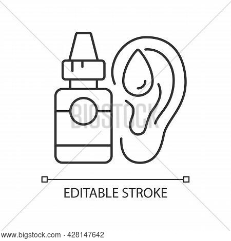 Ear Drops Linear Icon. Earwax Removing. Ear Inflammations Prevention. Reducing Pain. Thin Line Custo