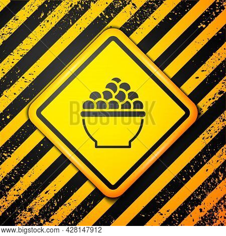 Black Caviar Icon Isolated On Yellow Background. Warning Sign. Vector