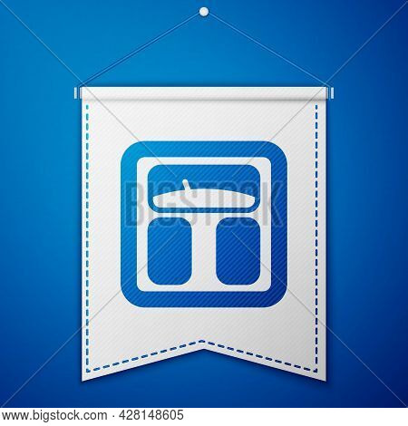 Blue Bathroom Scales Icon Isolated On Blue Background. Weight Measure Equipment. Weight Scale Fitnes