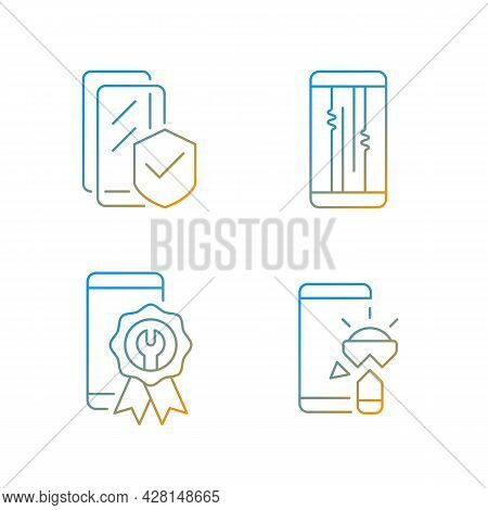 Common Phone Breakdowns Gradient Linear Vector Icons Set. Certified Repair. Screen Issues. Torchligh