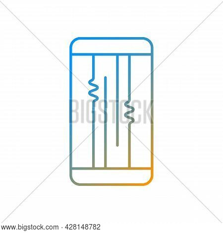Display Or Lcd Issues Gradient Linear Vector Icon. Cracked Screen Problem. Touchscreen Is Flickering
