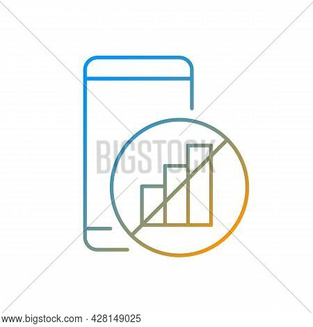 No Signal Gradient Linear Vector Icon. Mobile Phone And Signal Bars Indicator. Network Disconnection