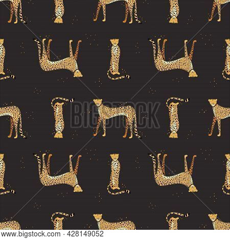 Seamless Pattern With Hand Drawn Exotic Leopards And Cheetahs On Black Background. Colorful Flat Vec
