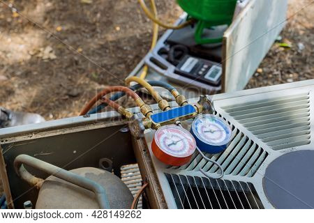 Air Conditioning Heating Units For A Checking Conditioning System Outdoor Residential House