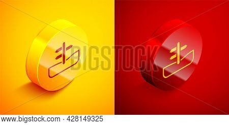Isometric Road Traffic Sign. Signpost Icon Isolated On Orange And Red Background. Pointer Symbol. Is