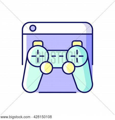 Game Platforms Rgb Color Icon. Playing Video Games. Desktop Application. Two-dimensional Graphics. V