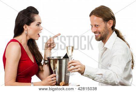 Woman Upset With Flirting Boyfriend