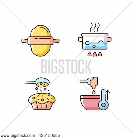 Cookery Instructions Rgb Color Icons Set. Roll Out Dough. Boiling Water In Pot. Sprinkle On Cupcake.