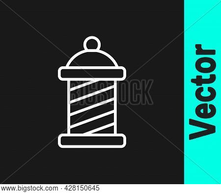 White Line Classic Barber Shop Pole Icon Isolated On Black Background. Barbershop Pole Symbol. Vecto