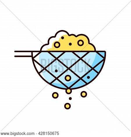 Sift Cooking Ingredient Rgb Color Icon. Pass Flour Through Mesh Utensil. Domestic Sieve. Cooking Ins