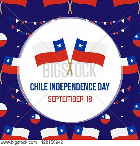 Chile Independence Day Vector Cartoon Style Greeting Card, Illustration With Flags Of Chile And Deco