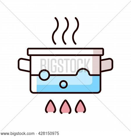 Boil For Cooking Rgb Color Icon. Simmering Water In Pot On Stove. Bubbling, Steaming Liquid. Cooking