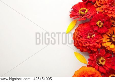 Autumn Flowers Arrangements Made Of Sunflowers, Leaves And Flowers On Grey Background , Top View. Cr