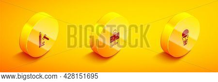Set Isometric Striker Attraction With Hammer, Magic Ball Table And Hot Air Balloon Icon. Vector