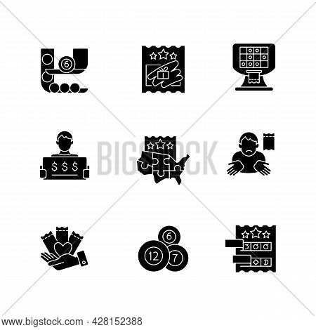 Lottery Games Types Black Glyph Icons Set On White Space. Ball Draw Machine. Scratch Cards. Prize-wi
