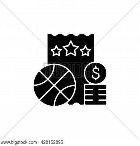 Sports Lottery Black Glyph Icon. Making Stakes On Sporting Event Outcome. Sports Betting. Predicting