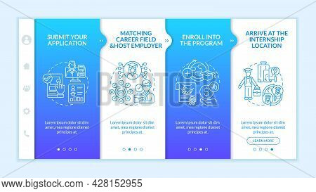 Traineeship Abroad Strategy Onboarding Vector Template. Responsive Mobile Website With Icons. Web Pa