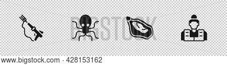 Set Fishing Harpoon, Octopus, Mussel And Fisherman Icon. Vector
