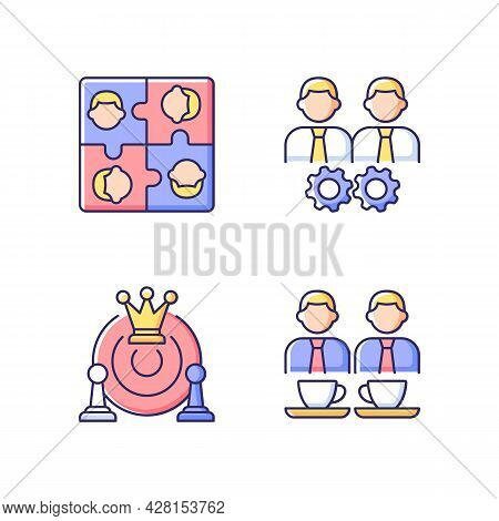 Office Members Interaction Rgb Color Icons Set. Approach Goal Together. Employees Meetings And Team