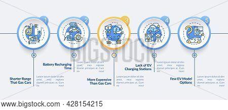 Ev Disadvantages Vector Infographic Template. Hybrid Charging Time Presentation Outline Design Eleme