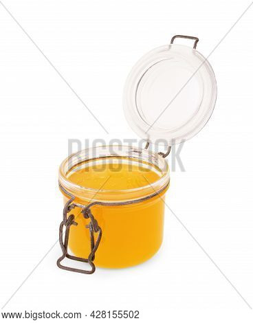 Glass Can With Honey. Clipping Paths. Health, Sugar, Tasty, Remedy, None, Sweetener, Container
