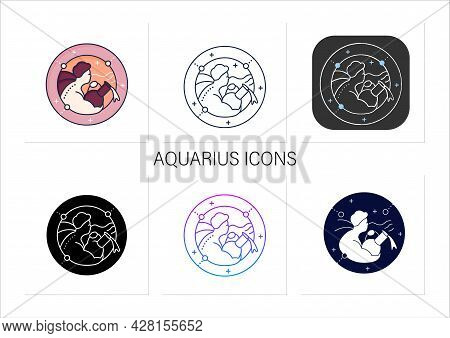 Aquarius Icons Set.eleventh Fire Sign In Zodiac.water Bearer Birth Symbol.mystic Horoscope Sign. Ast