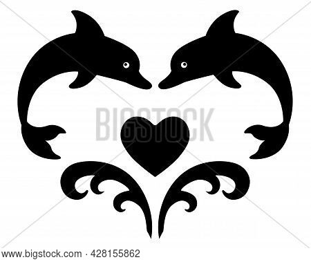 Heart Of Jumping Dolphins And Waves - Vector Black Silhouette For Logo Or Stencil. Heart, Dolphins A
