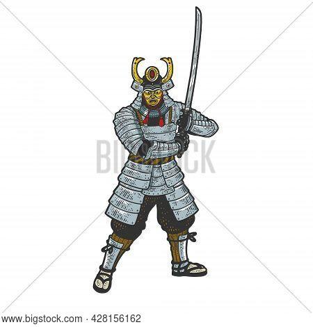 Samurai Warrior With Katana Sword Color Sketch Engraving Vector Illustration. T-shirt Apparel Print