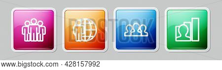 Set Line Users Group, Head Hunting, And Productive Human. Colorful Square Button. Vector