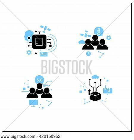 Digital Transformation Glyph Icons Set. Chipization, Digital Potential, Society 5.0, Information Soc