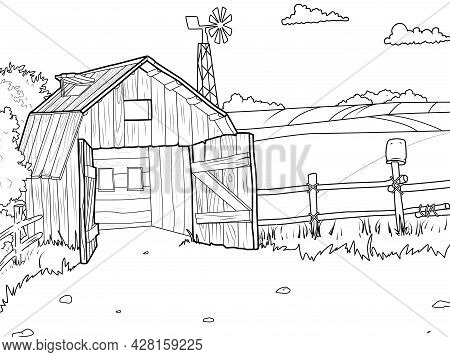Agricultural Yard, Barn, Field And Wind Farm. Children Coloring Book.