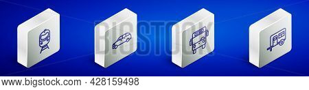 Set Isometric Line Train And Railway, Hatchback Car, Bus And Rv Camping Trailer Icon. Vector