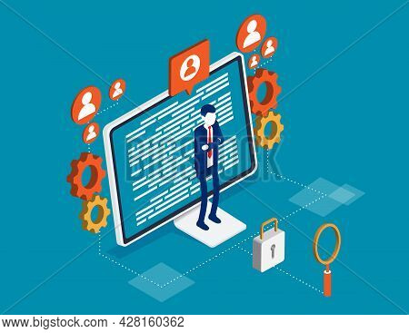 Online Security Or Cyberspace Protection Service. Internet Guard Program Concept